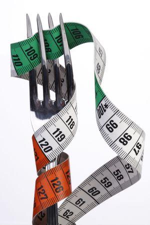 Tape measure around fork