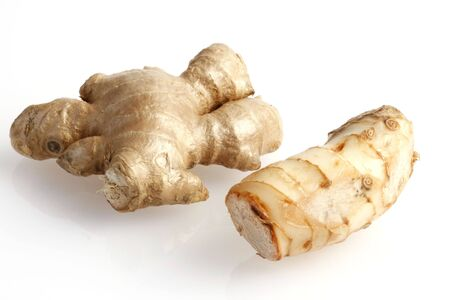 Ginger and galangal roots Stock Photo