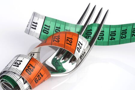 Tape measure around fork - weight loss concept