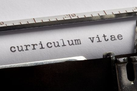 curriculum vitae written on an old typewriter Stock Photo