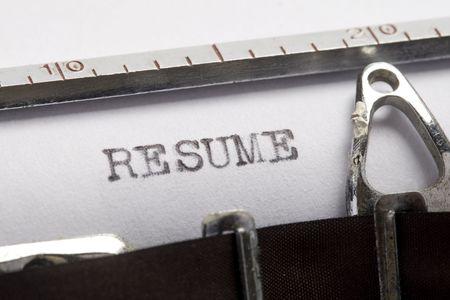 Resume written on old typewriter Stock Photo