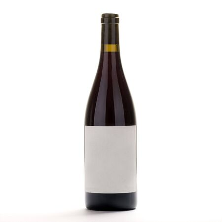 Burgundy wine bottle with blank label Stock Photo