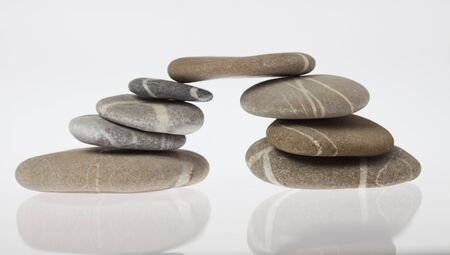Bridge built of rounded pebbles Stock Photo