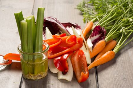 Fresh vegetable cut for appetizer and dips Stock Photo
