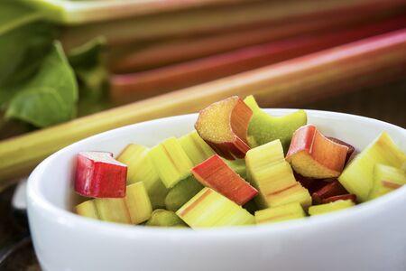 Freshly cut organic rhubarb pieces