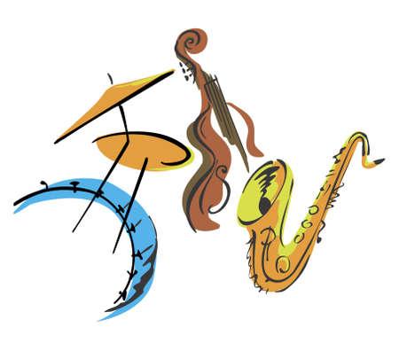 3 개의 재즈 악기 일러스트