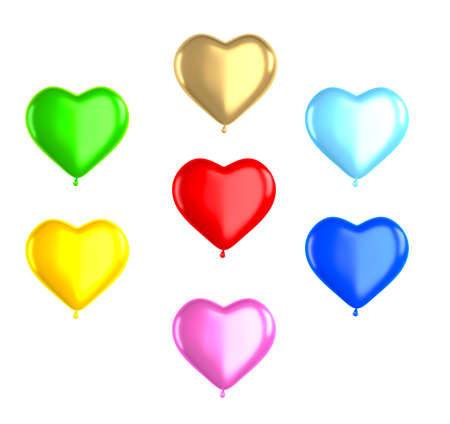 Heart shaped pink, red, blue, green balloons isolated on white