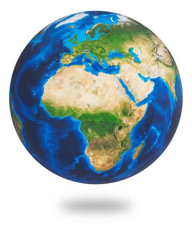 Afrika und Europa, zwei des Erdkontinents. Erde isoliert auf weißem Hintergrund. Planet Erde Globus. 3D-Rendering. Standard-Bild