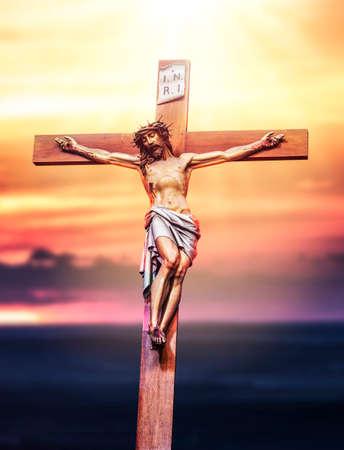 Jesus Christ crucifixion. Holy God Jesus sacrifice on cross. Christianity symbol.
