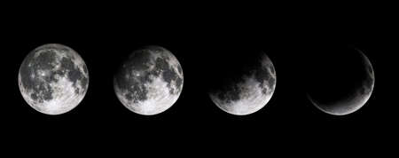 Moon phases on black baclground. Lunar phases of earth satelite. Half moon, quarter and full moon. 3D rendering