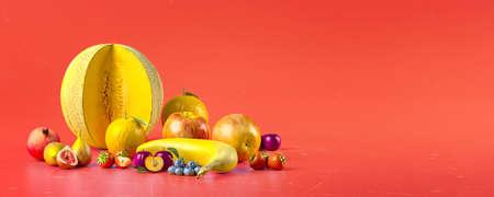 Healthy fruits with vitamins on red  background. Organic fresh sweet fruits. Apples, banana, orange, plums, strawberies. Healthy diet. 3d rendering. Standard-Bild