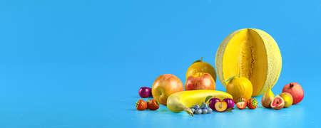 Healthy fruits with vitamins on blue  background. Organic fresh sweet fruits. Apples, banana, orange, plums, strawberies. Healthy diet. 3d rendering. Standard-Bild