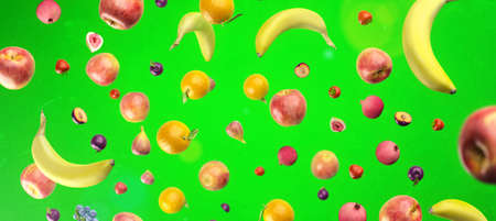 Healthy fruits with vitamins on green   background. Organic fresh sweet fruits flying pattern. Apples, banana, orange, plums, strawberies. Healthy diet. 3d rendering.