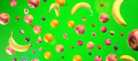 Healthy fruits with vitamins on green   background. Organic fresh sweet fruits flying pattern. Apples, banana, orange, plums, strawberies. Healthy diet. 3d rendering. Standard-Bild - 157132498