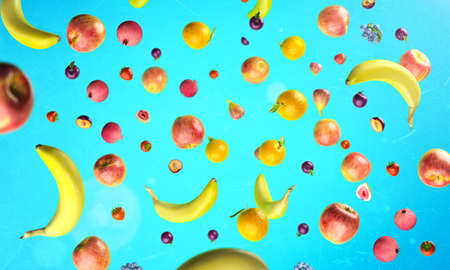 Healthy fruits with vitamins on blue background. Organic fresh sweet fruits flying pattern. Apples, banana, orange, plums, strawberies. Healthy diet. 3d rendering.
