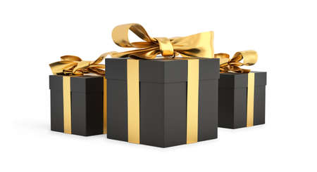Christmas gifts black boxes tied with gold ribbon. Birthday gift with love. Happy celebration present. 3D rendering