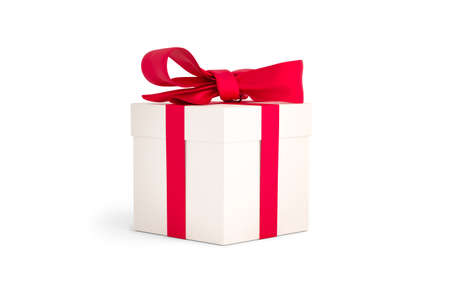Christmas gift white box tied with red ribbon. Birthday gift with love. Happy celebration present. 3D rendering