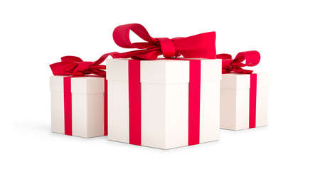 Christmas gifts white boxes tied with red ribbon. Birthday gift with love. Happy celebration present. 3D rendering