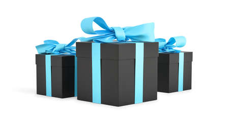 Christmas gifts black boxes tied with blue ribbon. Birthday gift with love. Happy celebration present. 3D rendering