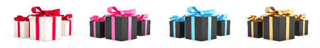 Christmas gifts black boxes tied with  ribbon. Birthday gift with love. Happy celebration present. 3D rendering.