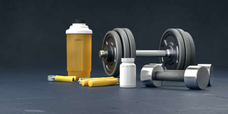 Supplement and gym and fitness workout equipment. Sport lifting bodybuilding concept with vitamins background. Body supplements copy space black  template. 3d rendering. Standard-Bild