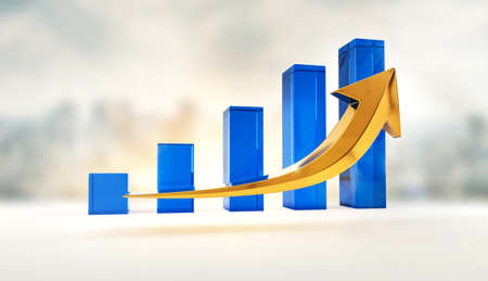 Financial growth and success profits statistics chart. Corporate analysis of money profit increase. Business market increase of investment. Chart and arrow symbol of success. 3D rendering.