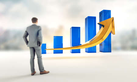 Business growth and success profits statistics chart. Corporate analysis of money profit increase. Financial market increase of investment. Businessman wathcing growth. 3D rendering. Standard-Bild