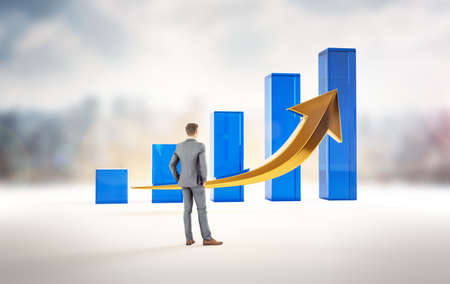 Business growth and success statistics chart. Corporate analysis of money profit increase. Financial market increase of investment. Businessman wathcing growth. 3D rendering.