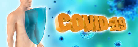 Immune system of human, protection against viruses and bacterias and Covid-19. Humans shield against the coronavirus. Immune defense fights with viruses. 3d rendering. Standard-Bild