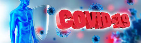 Immune system fights with Coronavirus. Humans shield against the Covid-19. Immune defense fights with viruses. 3d rendering.
