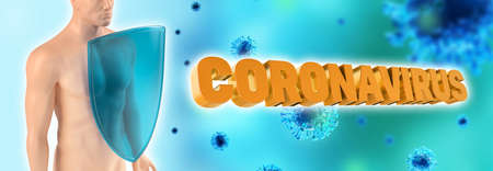 Immune system  fights with Covid-19. Humans shield against the coronavirus. Immune defense fights with viruses. 3d rendering. Standard-Bild