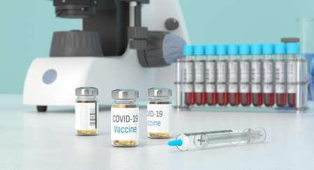 Covid-19 vaccine in labolatory. Medication for coronavirus in bottles. Treatment for coronavirus made in lab. 3D rendering. Standard-Bild