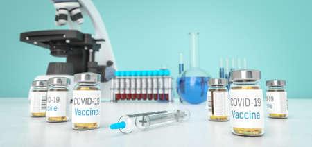 Vaccine for coronavirus in labolatory. Medication for Covid-19  in bottles. Treatment for coronavirus made in lab. 3D rendering. Standard-Bild