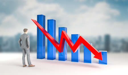 Economic crisis in world of business and finances. Financial loss, bankruptcy and recession showed in analisys and charts. 3d rendering.