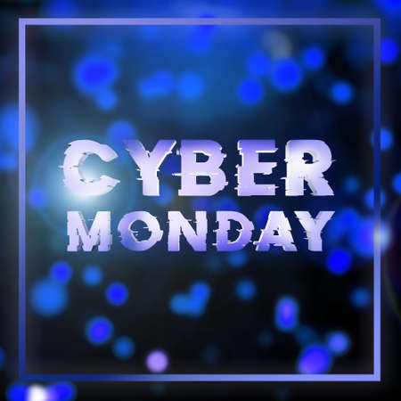 Cyber monday sale blue square banner. Cyber offer online sale event. 3D rendering.
