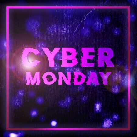 Cyber monday sale velvet square banner. Cyber offer online sale event. 3D rendering.