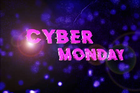 Cyber monday sale banner. Cyber offer online sale event. 3D rendering. Sale template.