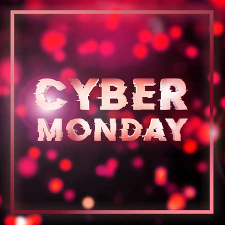 Cyber monday super sale square banner. Cyber offer online sale event. 3D rendering.