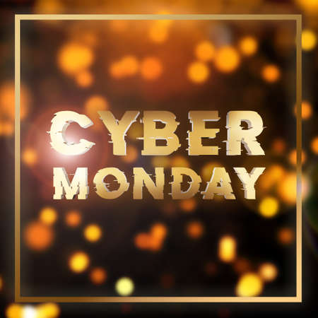 Cyber monday sale gold square banner. Cyber offer online sale event. 3D rendering.