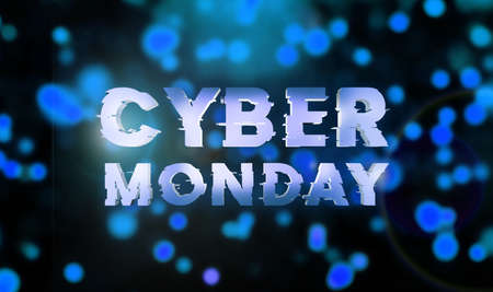 Cyber monday sale blue banner. Cyber offer online sale event. 3D rendering. Glitter sparkles and text cyber monday.
