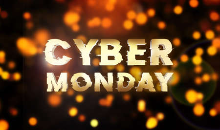 Cyber monday sale gold banner. Cyber offer online sale event. 3D rendering. Glitter sparkles and text cyber monday.