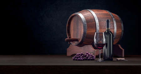 Red wine glass and bottle vintage luxury composition. Wine rustic culture with glass, bottle and barrel. Tasty red wine closeup. 3d rendering. Standard-Bild