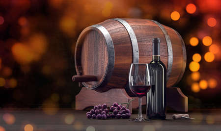 Wine glass and bottle. Wine rustic composition with glass, bottle and barrel. Tasty red wine alcohol closeup with bokeh sparkles. 3d rendering.