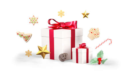 Christmas gift composition. Present box with red ribbon, christmas gingerbreads, stars, pine cone and mistletoe isolated on white background. 3D rendering Standard-Bild
