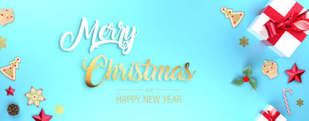 Merry Christmas blue banner.  Frame decorative banner with presents, stars and red ribbons. Holiday festive copy space. 3d rendering. Standard-Bild