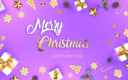 Merry Christmas purple banner.  Frame decorative banner with presents, stars and golden ribbons. Holiday festive copy space. 3d rendering.