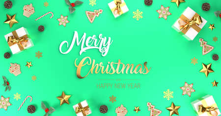 Merry Christmas green banner.  Frame decorative banner with presents, stars and golden ribbons. Holiday festive copy space. 3d rendering.