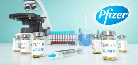 London. Great Britain. – 6 December 2020: Coronavirus vaccine developed in labolatory of Pfizer and BioNTech. COVID-19 in lab. 3D rendering. Editorial