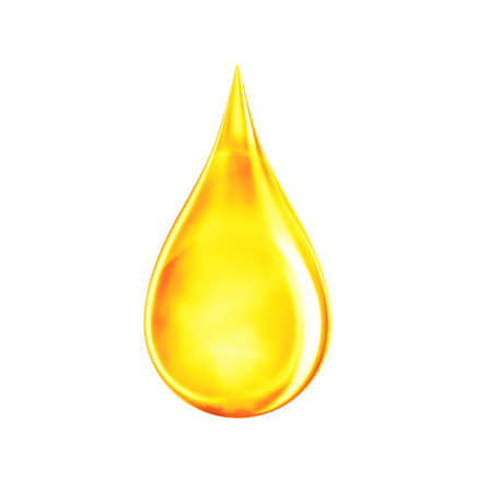 Drop of oil in yellow color. Icon of gold liquid drop like oil, gasoline or vitamins from droplet. Orange drip isolated on white. 3d rendering