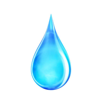 Water drop realistic bubble liquid. Clean raindrop aqua particle. Wet blue drop of eco water isolated on white. 3d rendering.